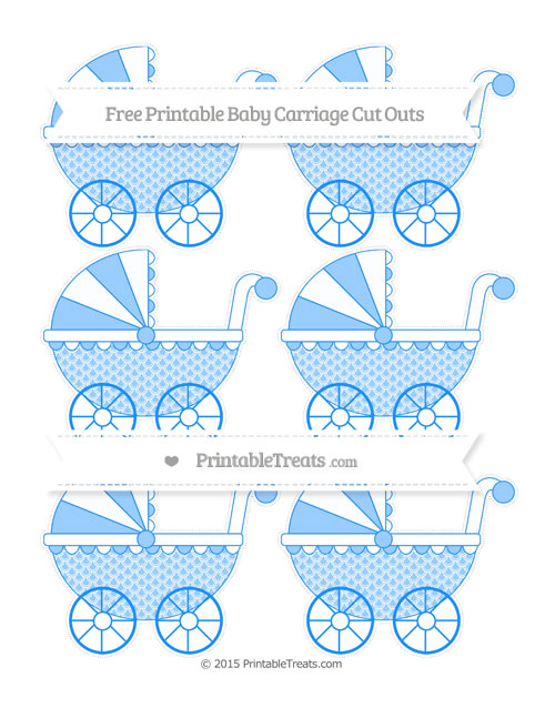 Free Dodger Blue Fish Scale Pattern Small Baby Carriage Cut Outs