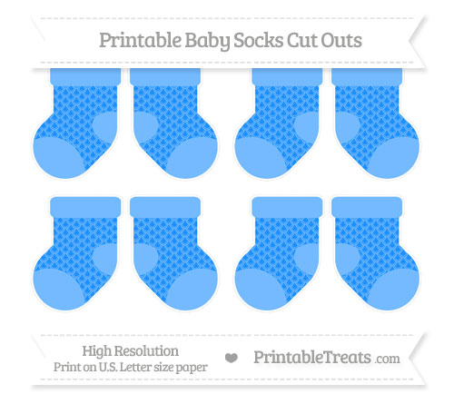 Free Dodger Blue Fish Scale Pattern Small Baby Socks Cut Outs