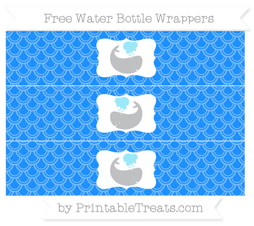 Free Dodger Blue Fish Scale Pattern Whale Water Bottle Wrappers