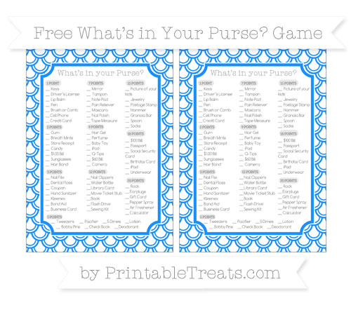 Free Dodger Blue Fish Scale Pattern What's in Your Purse Baby Shower Game