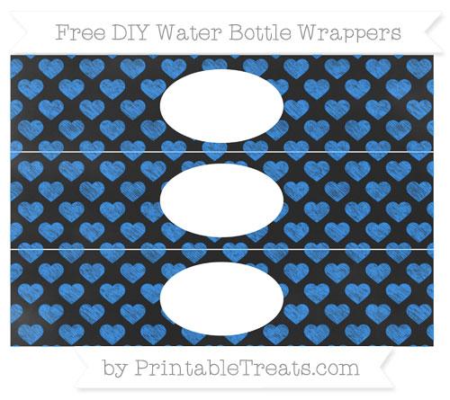Free Dodger Blue Heart Pattern Chalk Style DIY Water Bottle Wrappers