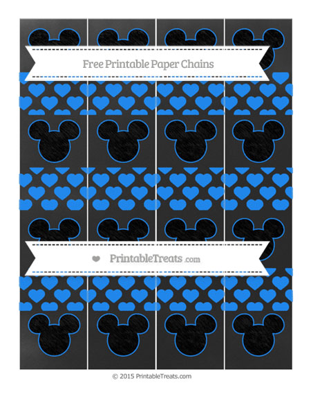 Free Dodger Blue Heart Pattern Chalk Style Mickey Mouse Paper Chains