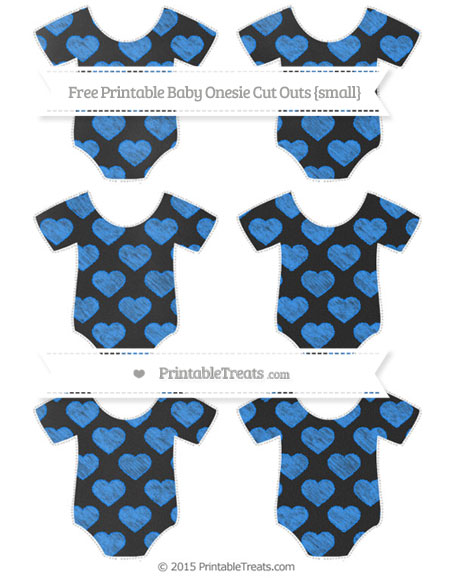Free Dodger Blue Heart Pattern Chalk Style Small Baby Onesie Cut Outs