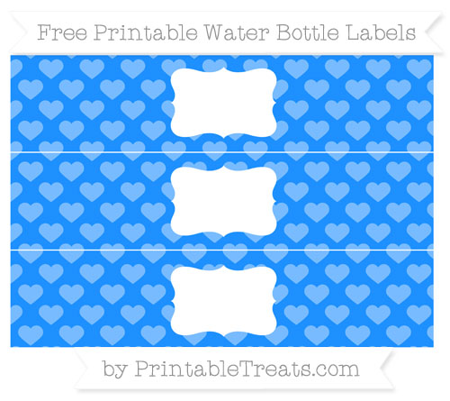 Free Dodger Blue Heart Pattern Water Bottle Labels