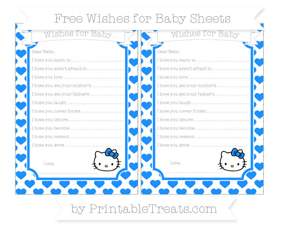 Free Dodger Blue Heart Pattern Hello Kitty Wishes for Baby Sheets