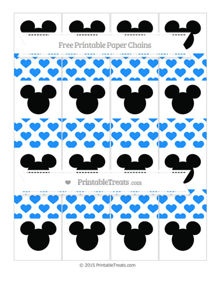 Free Dodger Blue Heart Pattern Mickey Mouse Paper Chains
