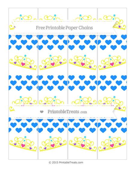 Free Dodger Blue Heart Pattern Princess Tiara Paper Chains
