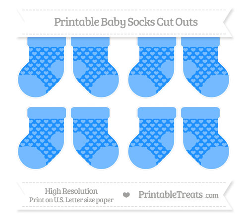 Free Dodger Blue Heart Pattern Small Baby Socks Cut Outs