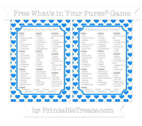 Free Dodger Blue Heart Pattern What's in Your Purse Baby Shower Game
