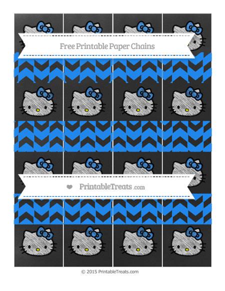 Free Dodger Blue Herringbone Pattern Chalk Style Hello Kitty Paper Chains