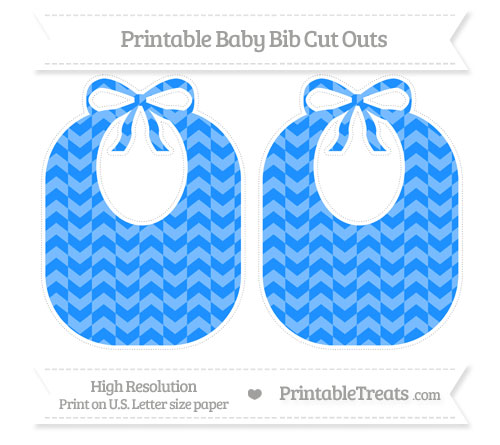 Free Dodger Blue Herringbone Pattern Large Baby Bib Cut Outs