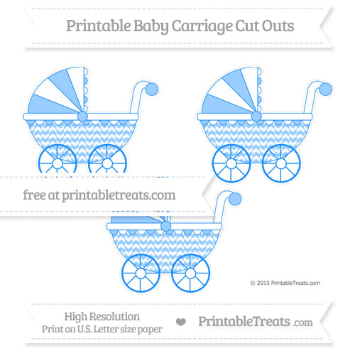 Free Dodger Blue Herringbone Pattern Medium Baby Carriage Cut Outs