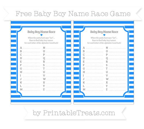 Free Dodger Blue Horizontal Striped Baby Boy Name Race Game