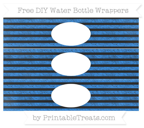 Free Dodger Blue Horizontal Striped Chalk Style DIY Water Bottle Wrappers