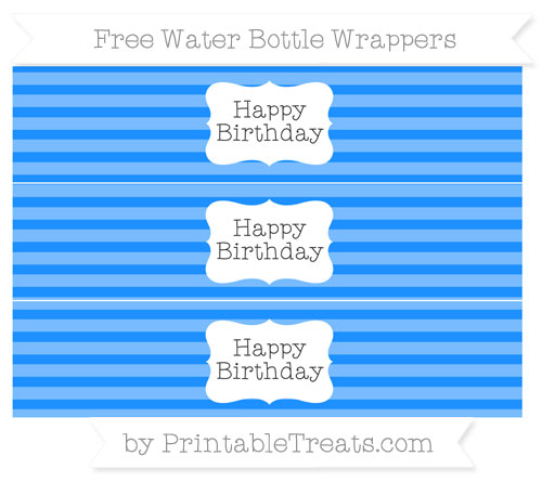 Free Dodger Blue Horizontal Striped Happy Birhtday Water Bottle Wrappers