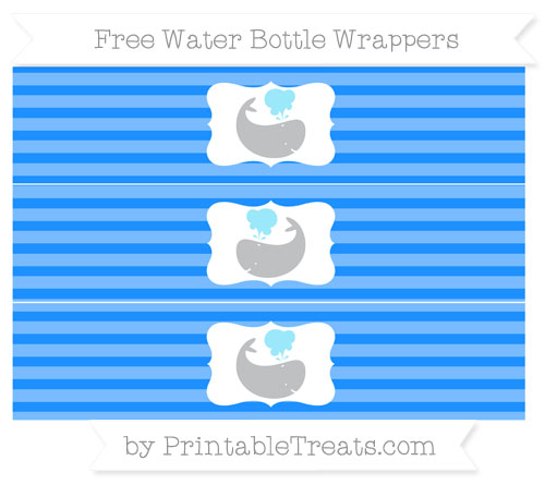 Free Dodger Blue Horizontal Striped Whale Water Bottle Wrappers