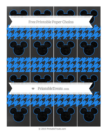 Free Dodger Blue Houndstooth Pattern Chalk Style Mickey Mouse Paper Chains