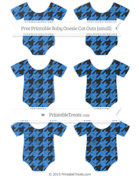Free Dodger Blue Houndstooth Pattern Chalk Style Small Baby Onesie Cut Outs