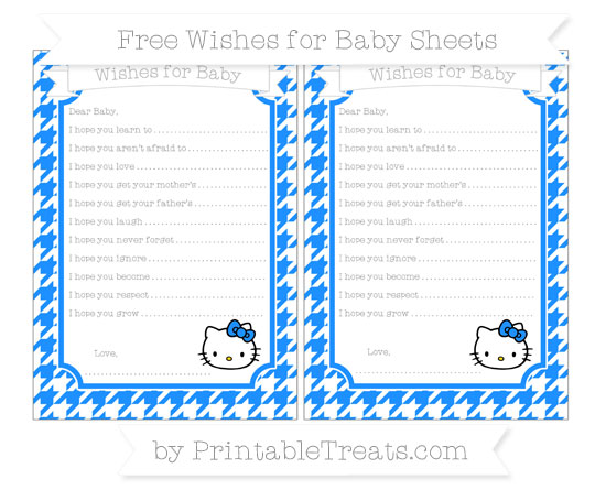 Free Dodger Blue Houndstooth Pattern Hello Kitty Wishes for Baby Sheets