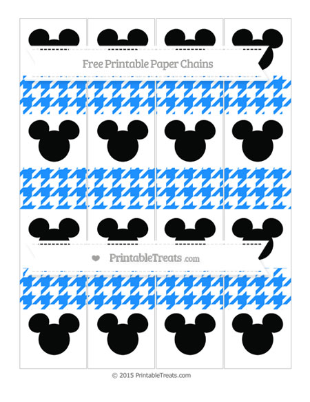 Free Dodger Blue Houndstooth Pattern Mickey Mouse Paper Chains