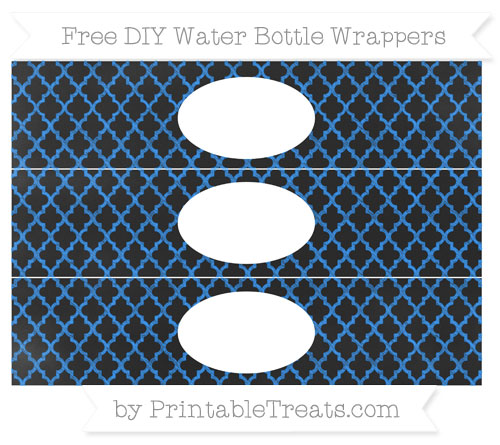 Free Dodger Blue Moroccan Tile Chalk Style DIY Water Bottle Wrappers