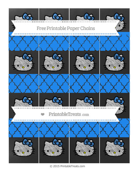 Free Dodger Blue Moroccan Tile Chalk Style Hello Kitty Paper Chains