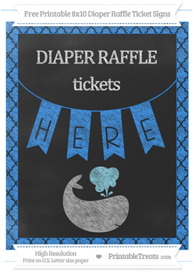Free Dodger Blue Moroccan Tile Chalk Style Whale 8x10 Diaper Raffle Ticket Sign