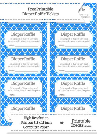 Free Dodger Blue Moroccan Tile Diaper Raffle Tickets