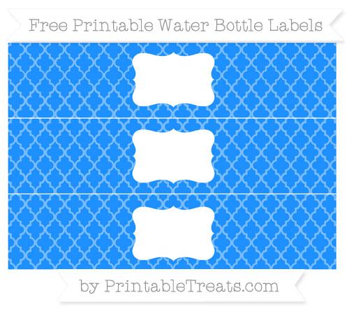 Free Dodger Blue Moroccan Tile Water Bottle Labels