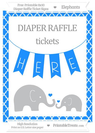Free Dodger Blue Moroccan Tile Elephant 8x10 Diaper Raffle Ticket Sign