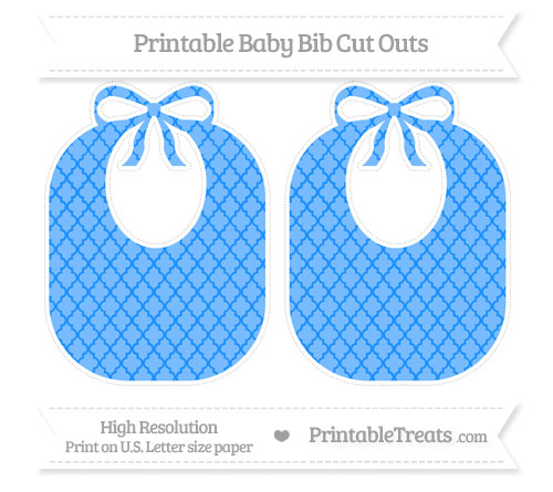 Free Dodger Blue Moroccan Tile Large Baby Bib Cut Outs