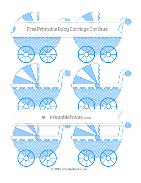 Free Dodger Blue Moroccan Tile Small Baby Carriage Cut Outs