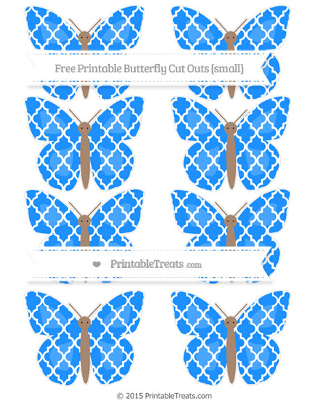 Free Dodger Blue Moroccan Tile Small Butterfly Cut Outs