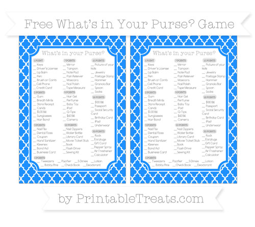 Free Dodger Blue Moroccan Tile What's in Your Purse Baby Shower Game