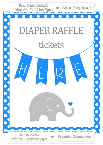 Free Dodger Blue Polka Dot Baby Elephant 8x10 Diaper Raffle Ticket Sign