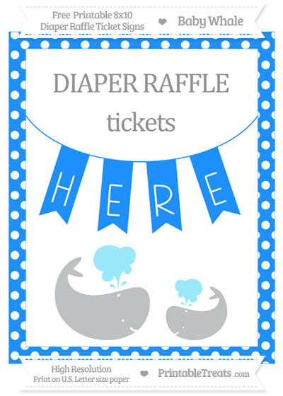 Free Dodger Blue Polka Dot Baby Whale 8x10 Diaper Raffle Ticket Sign