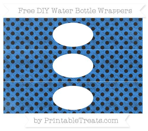 Free Dodger Blue Polka Dot Chalk Style DIY Water Bottle Wrappers