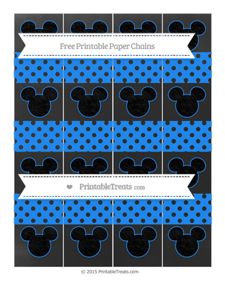 Free Dodger Blue Polka Dot Chalk Style Mickey Mouse Paper Chains