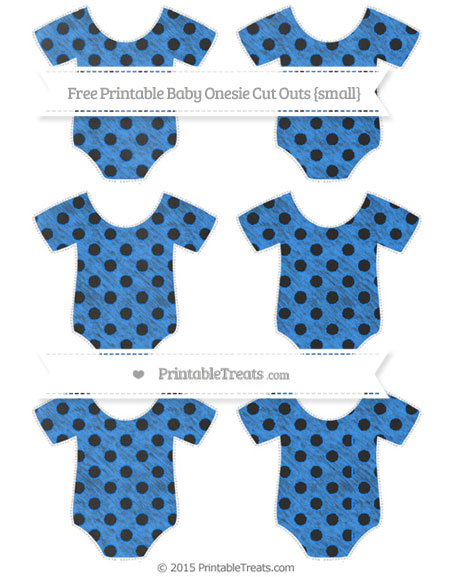 Free Dodger Blue Polka Dot Chalk Style Small Baby Onesie Cut Outs