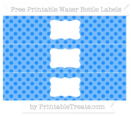 Free Dodger Blue Polka Dot Water Bottle Labels