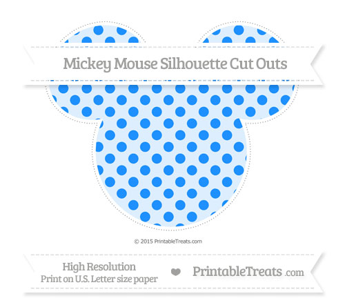 Free Dodger Blue Polka Dot Extra Large Mickey Mouse Silhouette Cut Outs