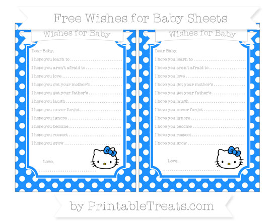 Free Dodger Blue Polka Dot Hello Kitty Wishes for Baby Sheets