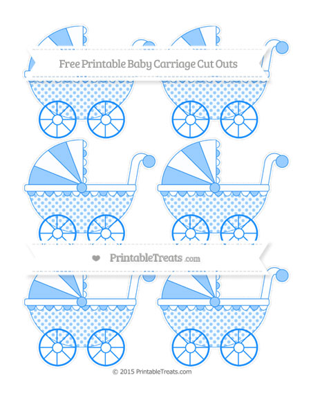 Free Dodger Blue Polka Dot Small Baby Carriage Cut Outs