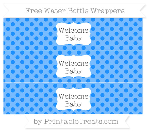 Free Dodger Blue Polka Dot Welcome Baby Water Bottle Wrappers