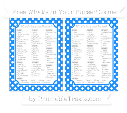 Free Dodger Blue Polka Dot What's in Your Purse Baby Shower Game