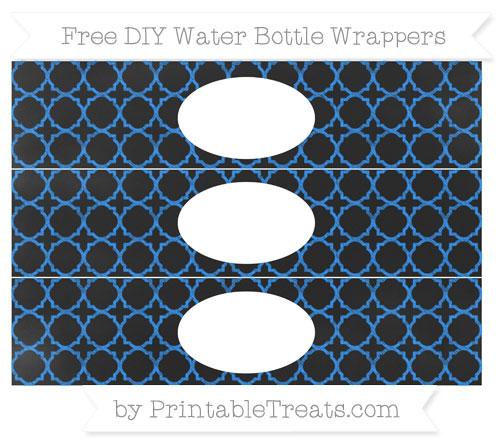Free Dodger Blue Quatrefoil Pattern Chalk Style DIY Water Bottle Wrappers