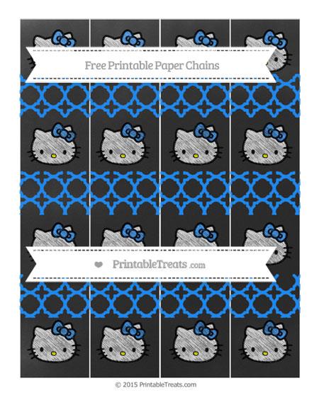 Free Dodger Blue Quatrefoil Pattern Chalk Style Hello Kitty Paper Chains
