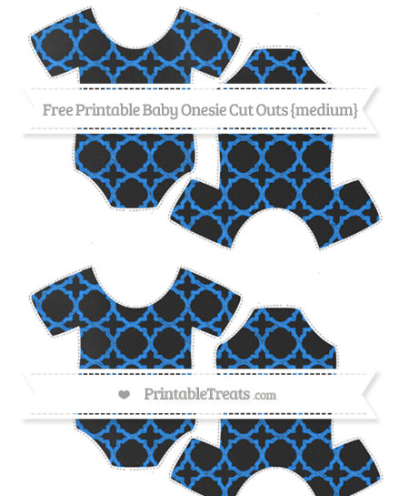 Free Dodger Blue Quatrefoil Pattern Chalk Style Medium Baby Onesie Cut Outs