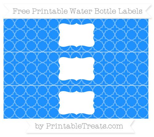 Free Dodger Blue Quatrefoil Pattern Water Bottle Labels