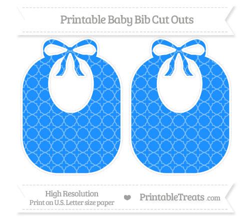 Free Dodger Blue Quatrefoil Pattern Large Baby Bib Cut Outs